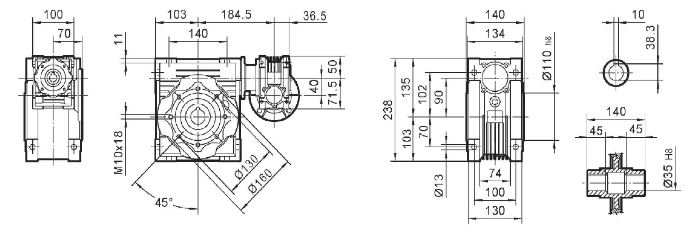 Чертеж мотор-редуктор DRV 040/090
