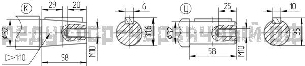 Чертеж быстроходного вала 1Ч2 160-100