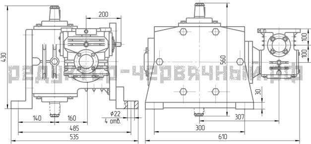 Чертеж редуктора 1Ч2 160-100