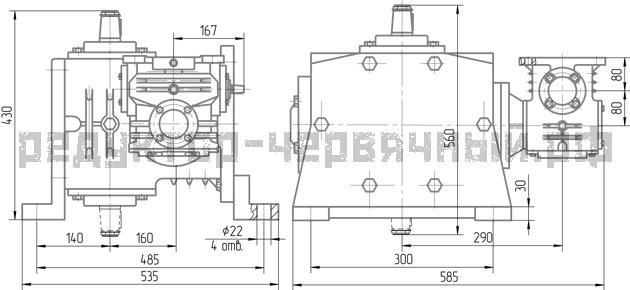 Чертеж редуктора 1Ч2 160-80 на лапах