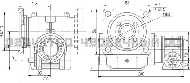 Чертеж червячного редуктора 1Ч2 63А-40 с опорным фланцем
