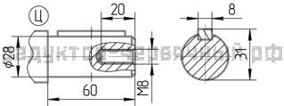 Чертеж тихоходного вала редуктора 1Ч2 63А-40