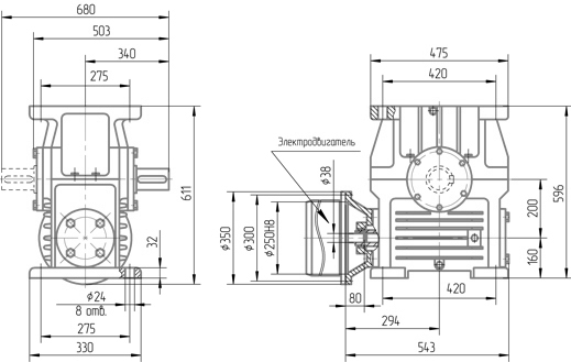 Чертеж мотор-редуктора 1МЧ-200
