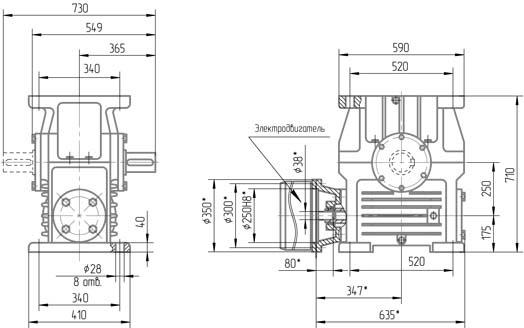 Чертеж мотор-редуктора 1МЧ-250