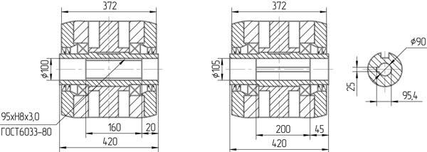 Чертеж полого вала мотор-редуктора 1МЧ-250
