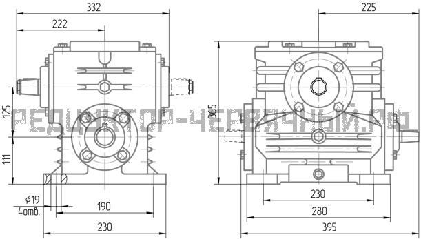 Чертеж редуктора 5Ч-125 со способом крепления 1