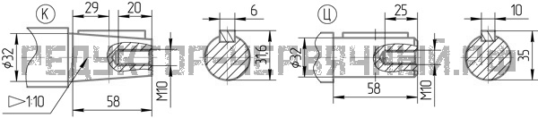 Чертеж входного вала редуктор 5Ч 125А