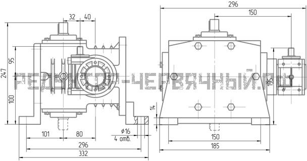 Чертеж редуктора 5Ч2 80-40 крепление сбоку