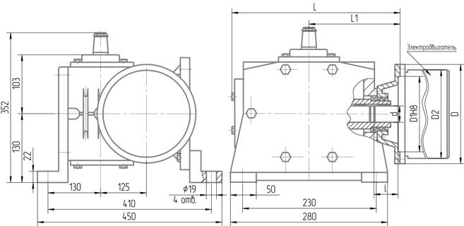 Чертеж мотор-редуктора 5МЧ-125 крепления сбоку