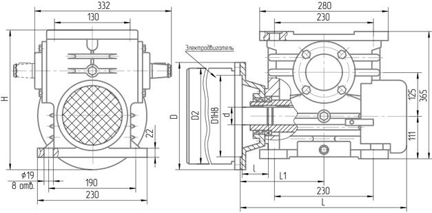 Чертеж мотор-редуктора 5МЧ-125 с вентилятором