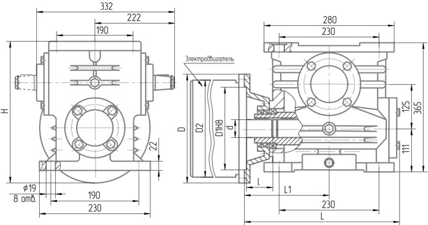 Чертеж мотор-редуктора 5МЧ-125
