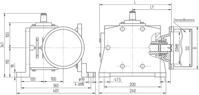 Чертеж мотор-редуктора 5МЧ-100 крепления сбоку