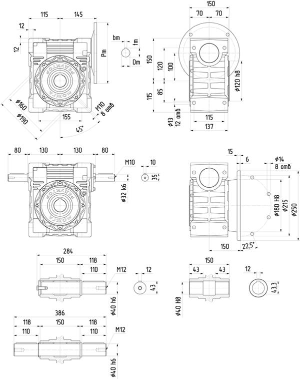 Редуктор 6Ч-100 размер