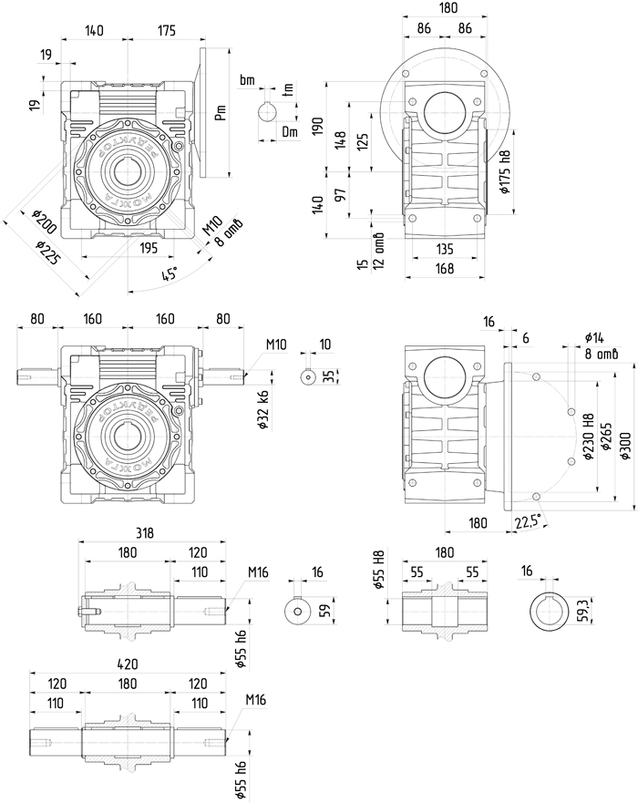 Редуктор 6Ч-125 размер