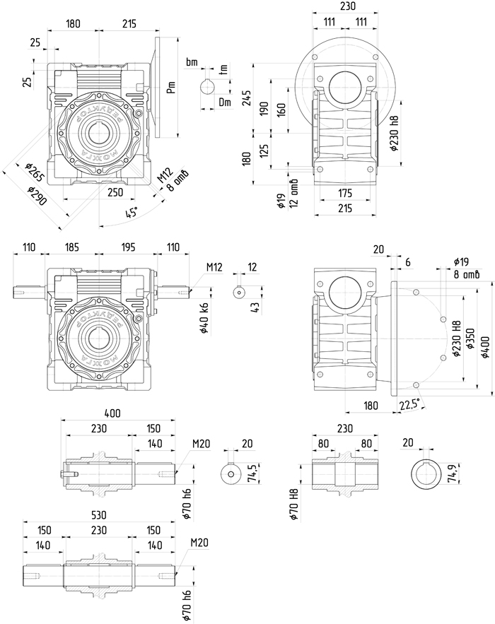 Редуктор 6Ч-160 размер