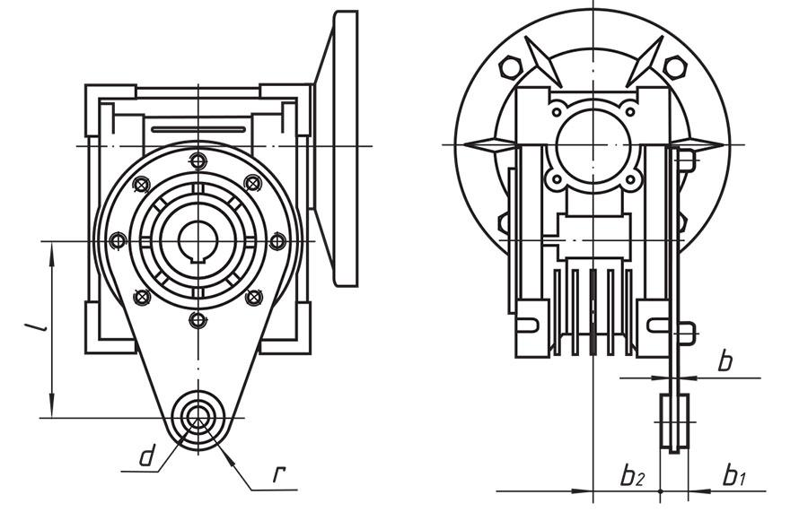 Размеры штанги мотор-редукторов 9МЧ