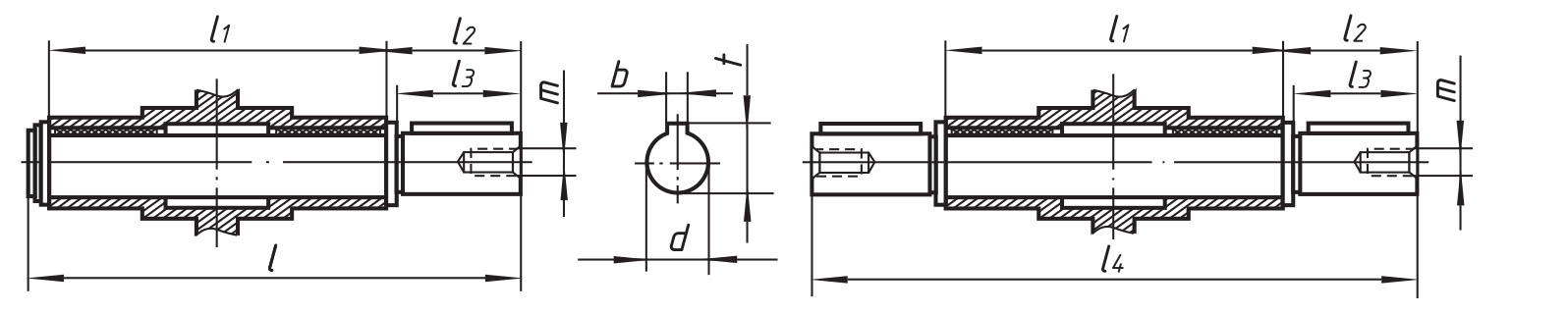 Размеры выходного вала мотор-редукторов 9МЧ