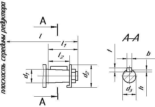 Чертеж конусного входного вала редуктора Ц2-400