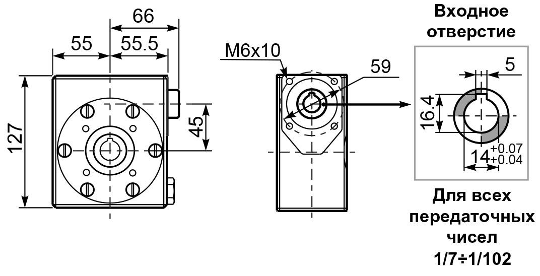 Размеры лап редуктора I 45 hydro-mec