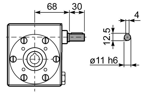 Чертеж редуктора I 45 hydro-mec входной вал