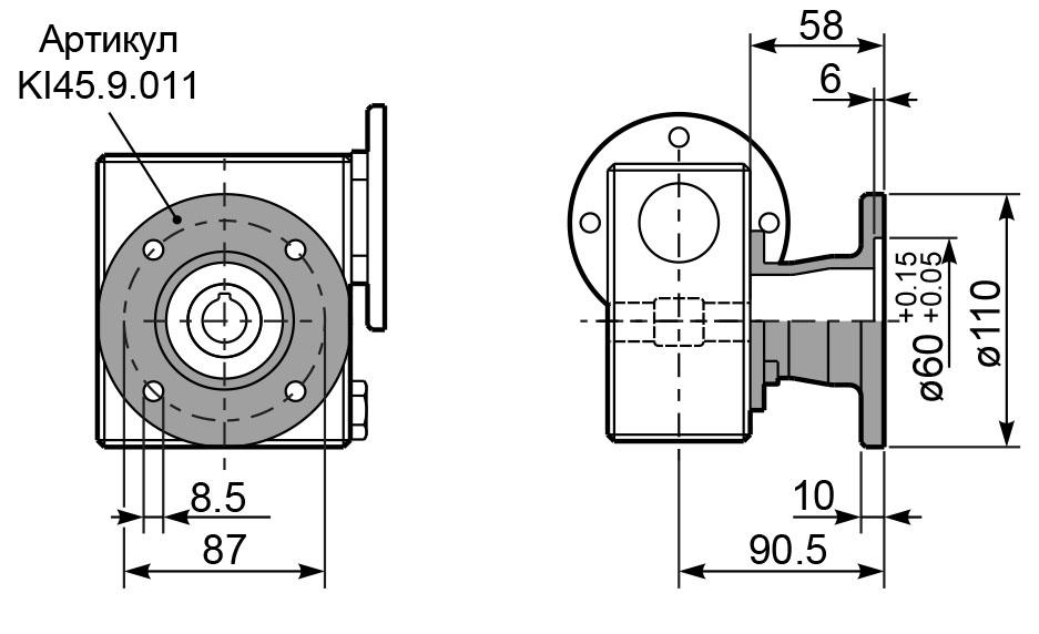 Чертеж редуктора I 45 hydro-mec фланцы
