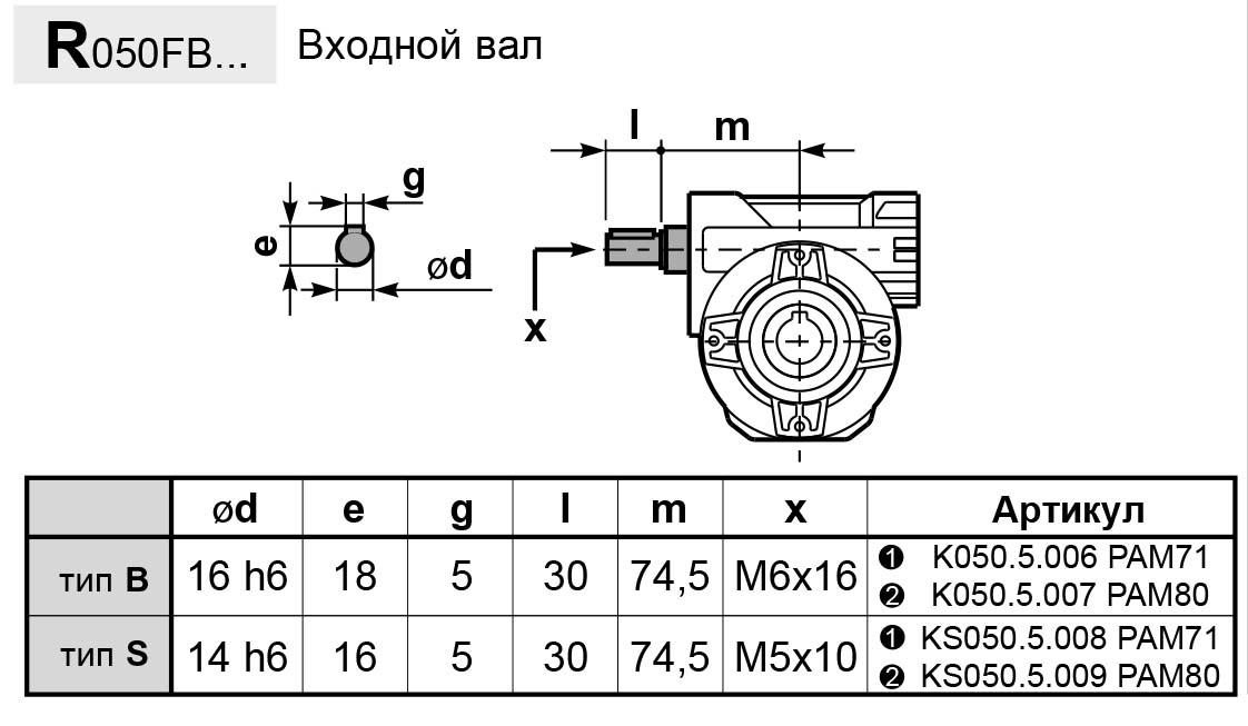 Чертеж редуктора P 050 hydro-mec входной вал