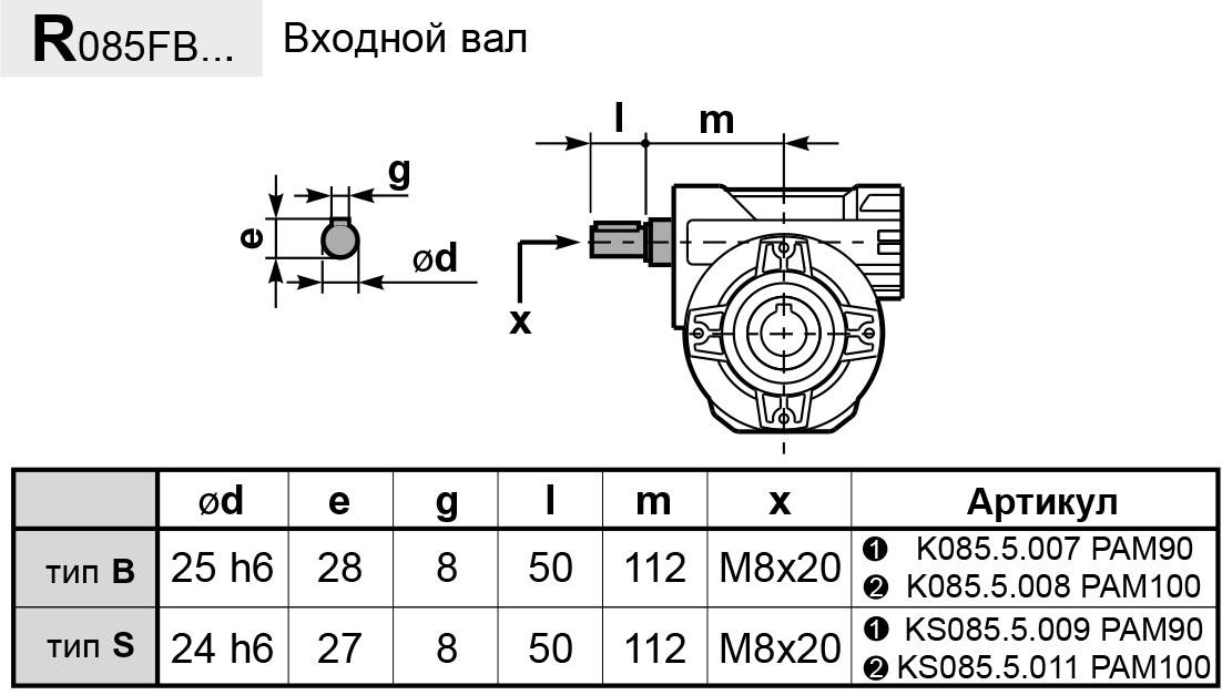 Чертеж редуктора P 085 hydro-mec входной вал