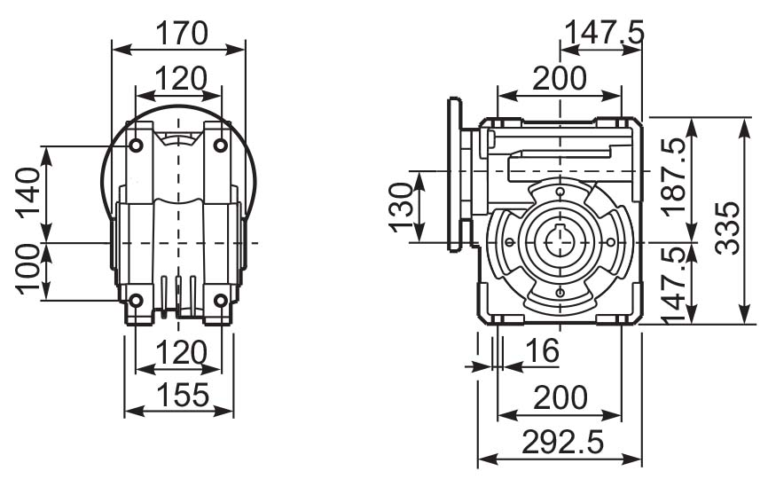 Размеры лам редуктора Q 13 hydro-mec