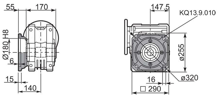 Чертеж редуктора Q 13 hydro-mec фланцы