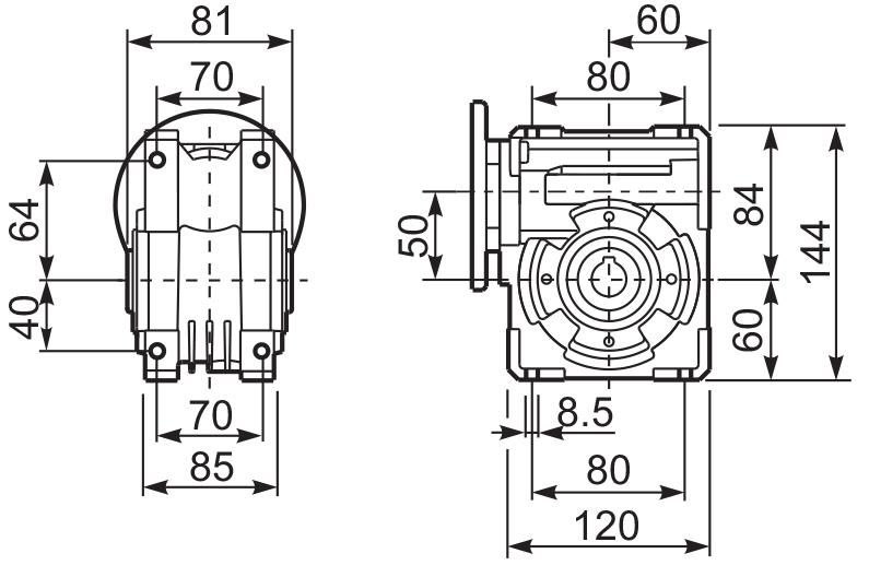 Размеры лап редуктора Q 50 hydro-mec