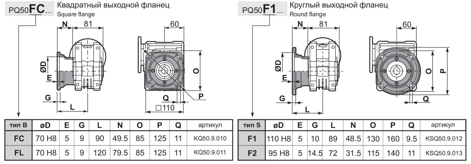 Чертеж редуктора Q 50 hydro-mec фланцы