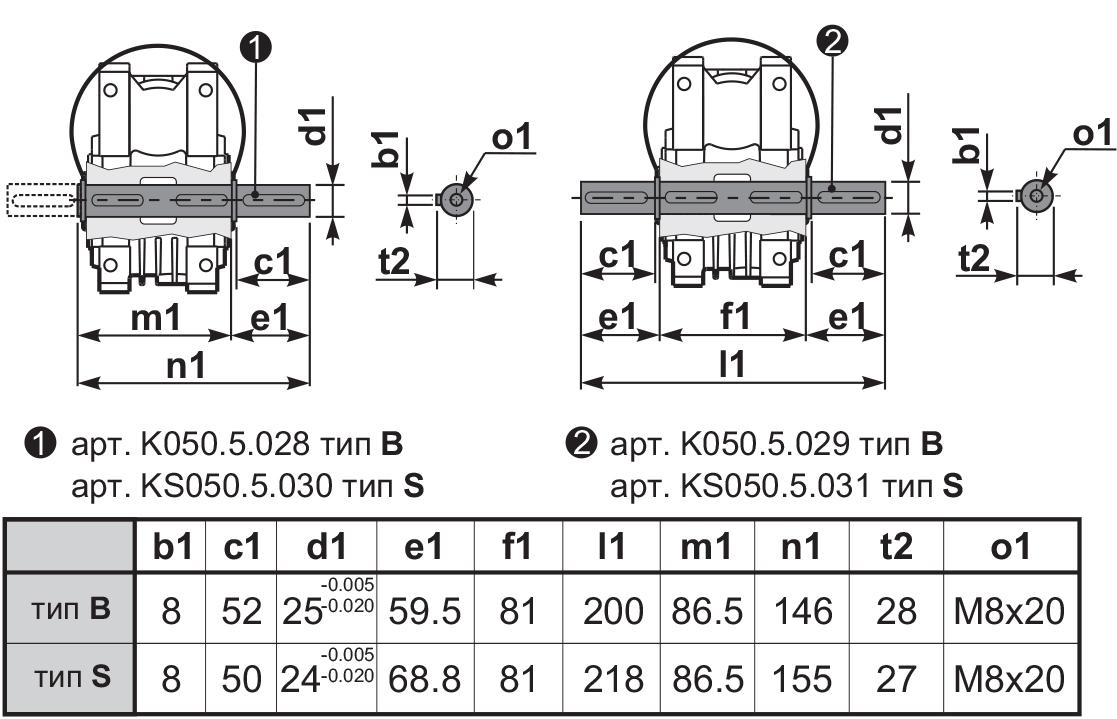 Чертеж редуктора Q 50 hydro-mec выходной вал