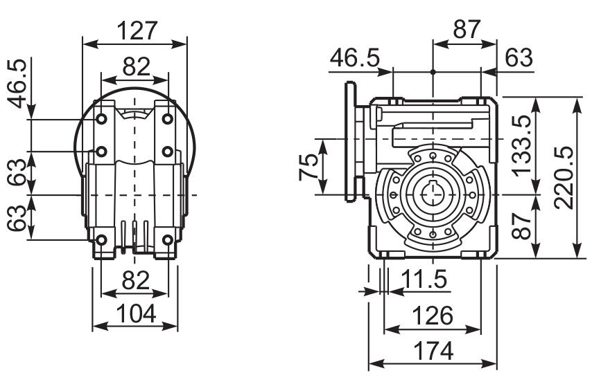 Размеры лам редуктора Q 75 hydro-mec