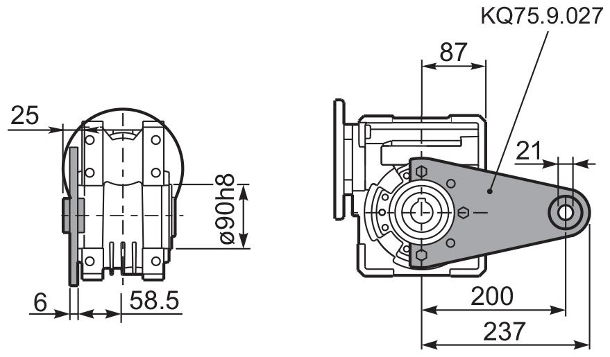 Чертеж редуктора Q 75 hydro-mec штанга