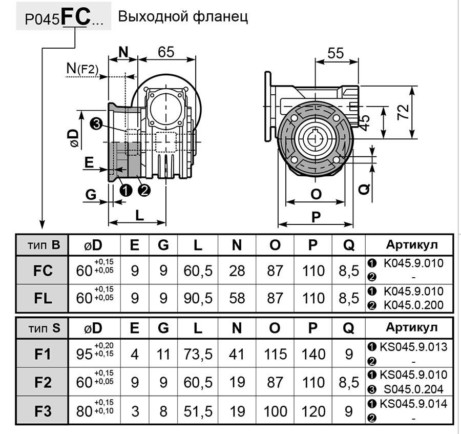 Чертеж редуктора P 045 innovari фланцы