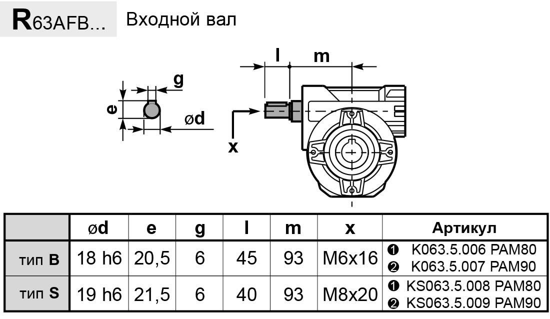 Чертеж редуктора P 63A innovari входной вал