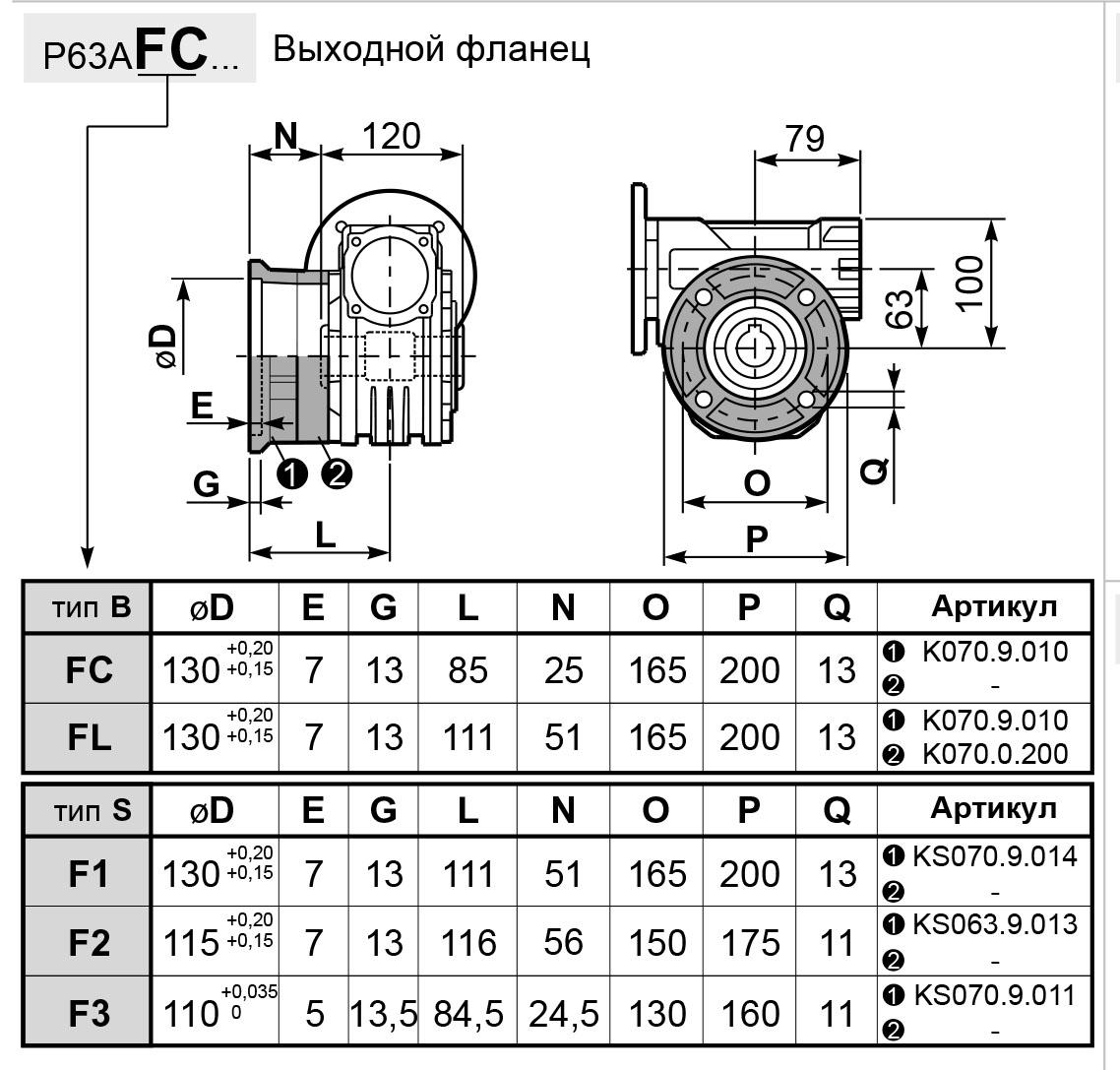 Чертеж редуктора P 63A innovari фланцы