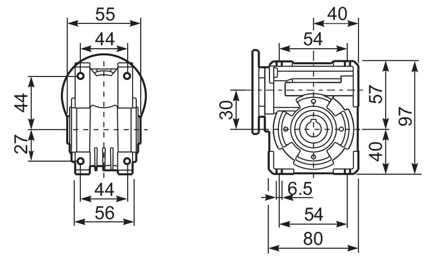 Размеры лап редуктора Q 30 innovari