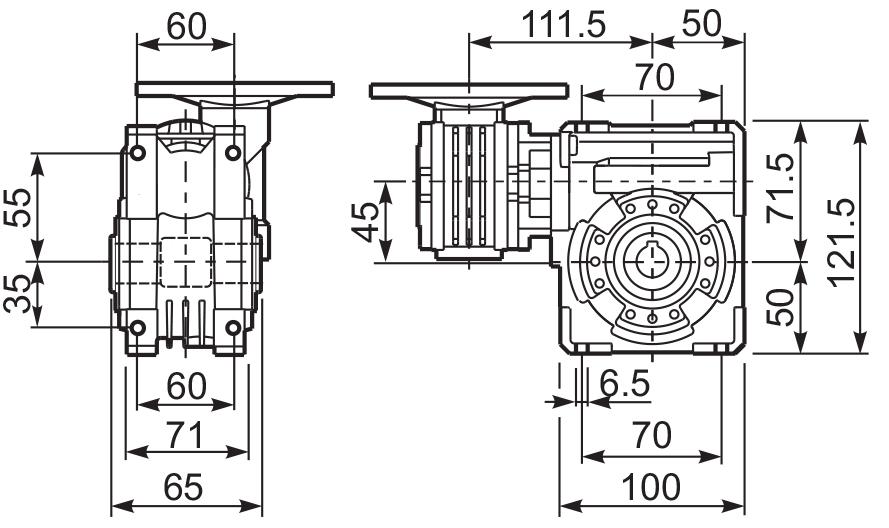 Размеры лап редуктора 43Q
