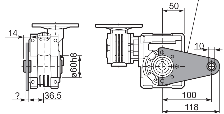 Размеры штанги редуктора 43Q