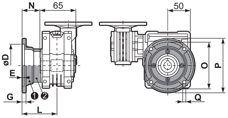 Чертеж круглого фланца редуктора 43Q