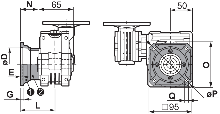 Чертеж квадратного фланца редуктора 43Q
