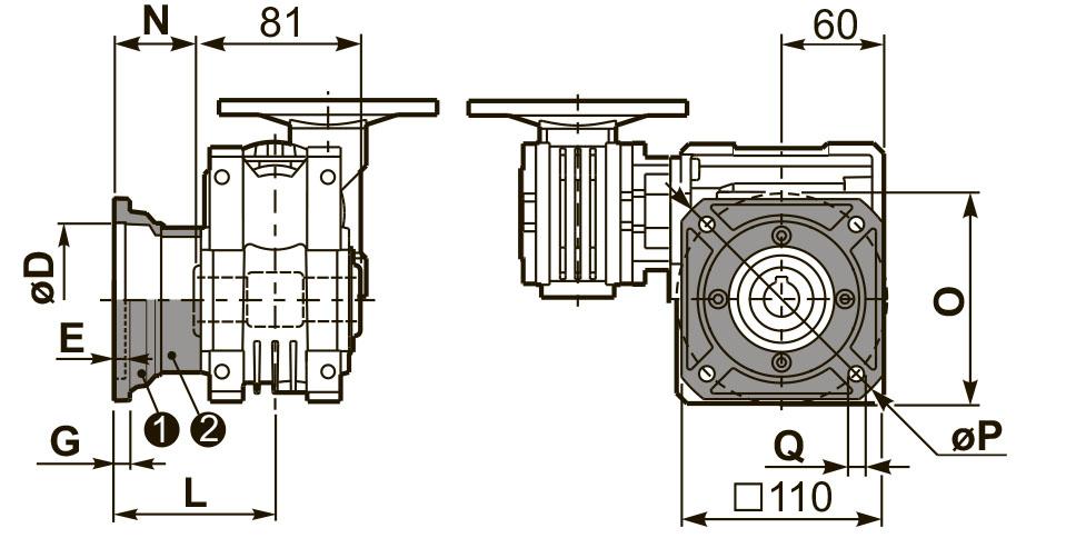 Чертеж квадратного фланца редуктора 53Q