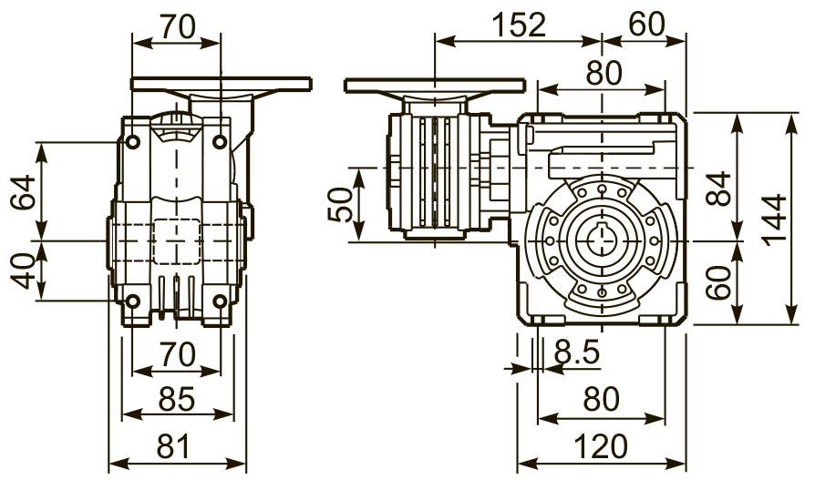 Размеры лап редуктора 53Q