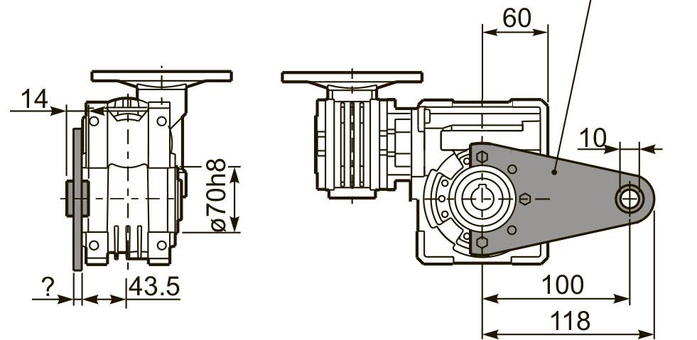 Размеры штанги редуктора 53Q
