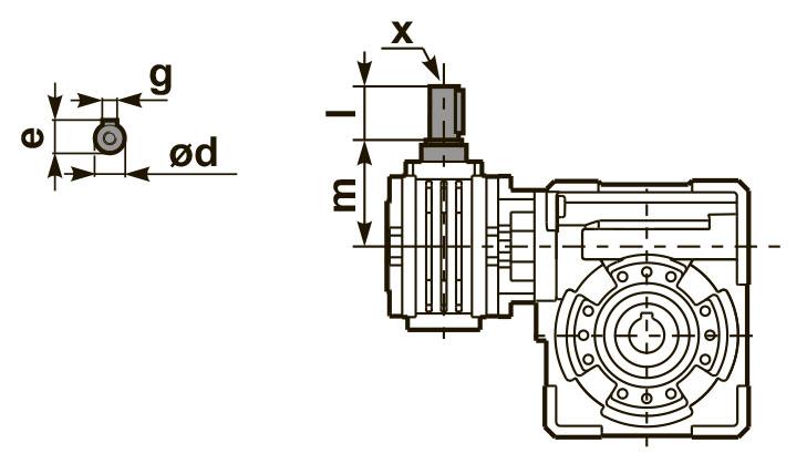 Размеры входного вала редуктора 53Q