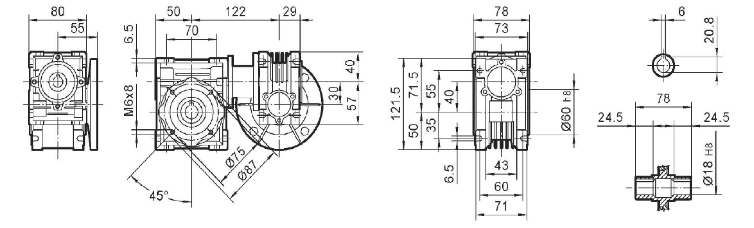 Чертеж мотор-редуктора DRV 030/040