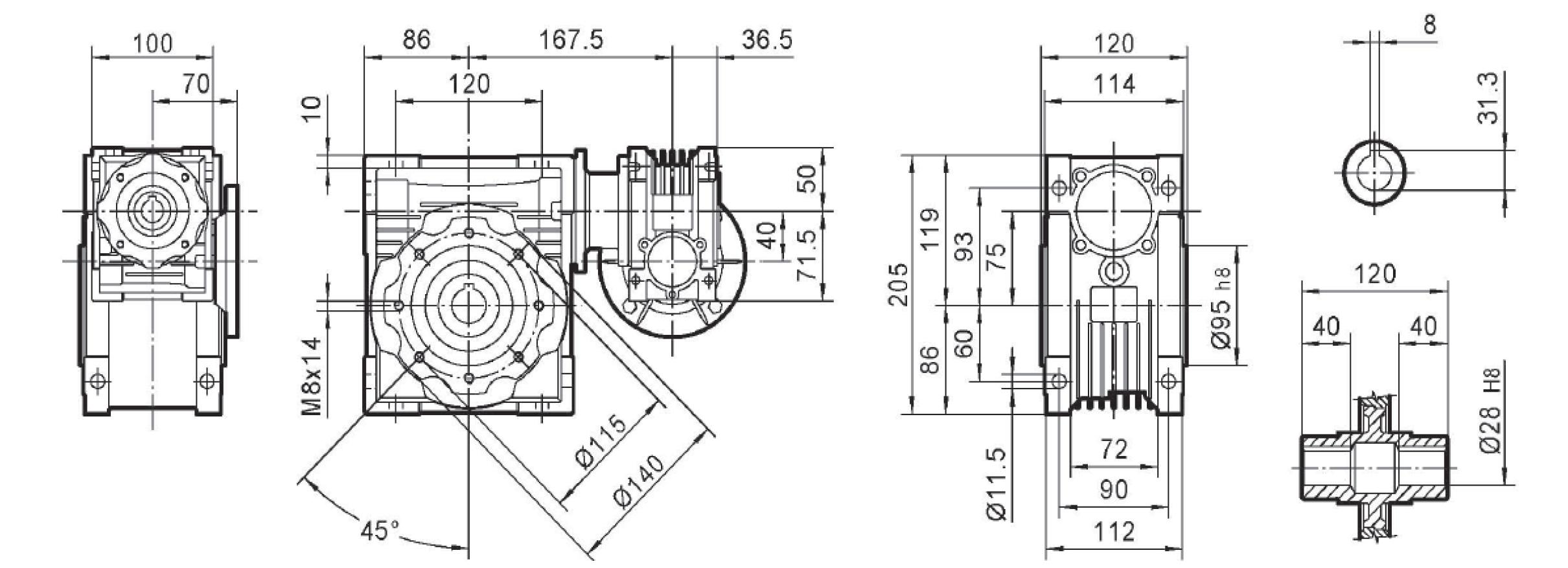 Чертеж редуктора DRV 040/075