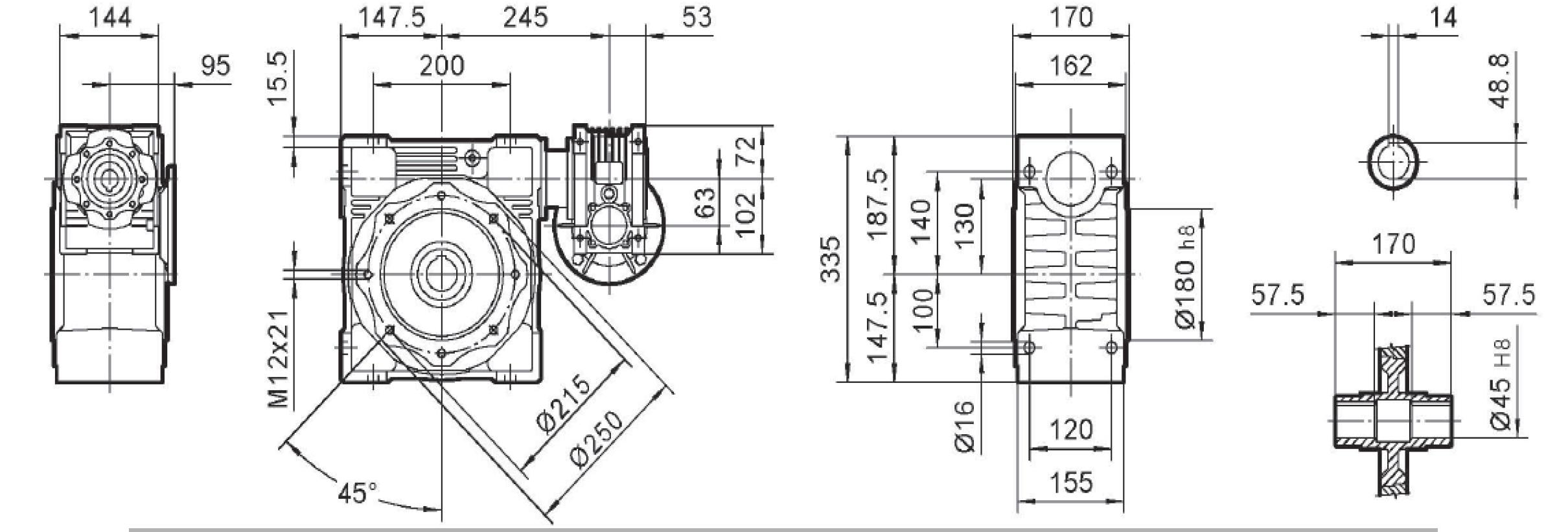Чертеж мотор-редуктора DRV 063/130