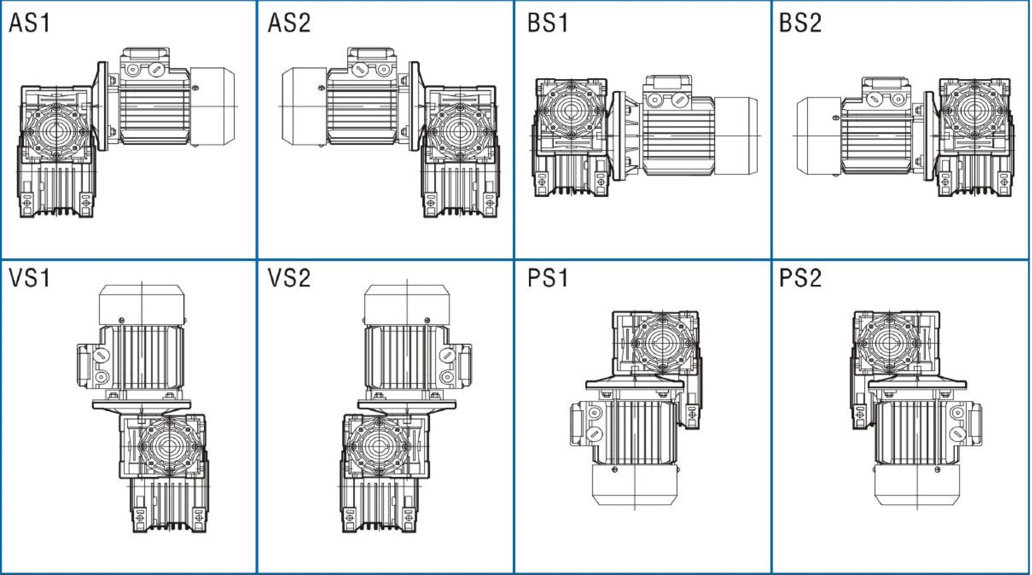 Монтажное исполнение редуктора DRV 040/075